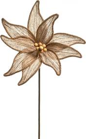 Flor Natalina Artificial Poinsettia Marrom Cabo Médio 50Cm