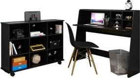 Mesa Escrivaninha Idealle Nicho Multiuso Toys e Cadeira Charles Preto - Mpozenato