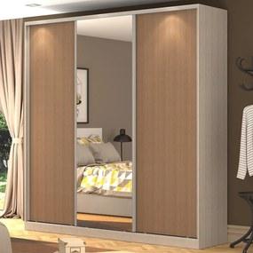 Guarda-Roupa Casal 3 Portas Correr 1 Espelho 100% Mdf Rc3003 Noce/Ocre - Nova Mobile