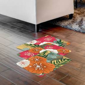 Kit com 3 Tapetes Floral Colorido40x60cm