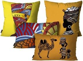 Kit com 4 Almofadas Africanas ColoridoKit 4