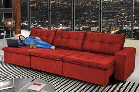 Sofá Austrália 3,52m Retrátil, Reclinável, Molas E Pillow No Assento Tecido Suede Vermelho Cama Inbox