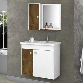 Armário de Banheiro Munique Branco/Madeira Rústica - Móveis Bechara