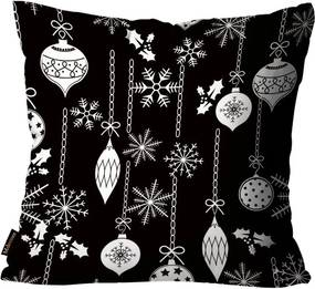 Capa para Almofada Mdecore Natal Bolas de Natal Preta45x45cm