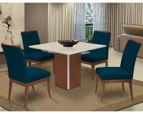 Conjunto Mesa Jade 1,04 m Off White + 4 Cadeiras Lana Veludo Azul Marinho
