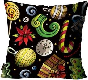 Almofada Premium Cetim Mdecore Natal Bola de Natal Preta 45x45cm