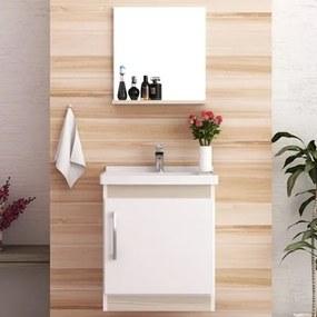 Kit Banheiro Gabinete Suspenso Pia e Armário com Espelho Econômica Branco/Taeda - Bosi
