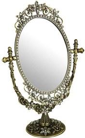 Espelho Mesa Brilliant Dourado em Liga de Zinco e Estanho - 30x18 cm