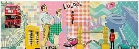 Tela Impressa Londres Colagem