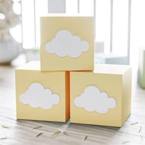 Cubo MDF Amarelo Personalizado Nuvem 6x6cm Grão de Gente Amarelo
