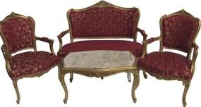 Kit Sofá Clássico Luis XV Dourado com Estofado Vermelho Flores com 2 Poltronas e Mesa de Centro