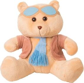 Urso Soft Grande Aviador Casaco Plush Cachecol e Óculos Azul