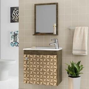 Armário de Banheiro Siena Madeira Rústica/Madeira 3d - Bechara Móveis