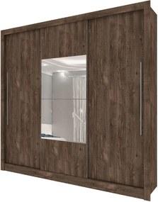 Roupeiro 3 Portas Genebra C/ Espelho Cumaru Rustic TCIL Móveis