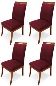 Kit 4 Cadeiras De Jantar Louis Estofada Base Madeira Peroba Suede Bordô