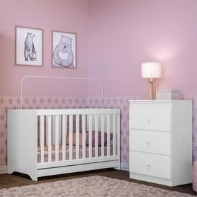 Quarto Infantil com Berço e Cômoda Algodão Doce Multimóveis Branco/Colorido