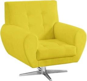 Poltrona Decorativa Beluno Suede Amarelo Base Estrela Aço Cromado - D'Rossi