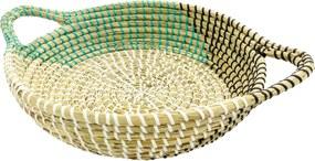 Bandeja Média em Rattan com Detalhes Verde 10 cm x 44 cm x 36 cm