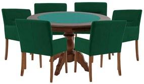Mesa de Jogos Carteado Redonda Montreal Tampo Reversível Imbuia com 6 Cadeiras Vicenza Verde - Gran Belo