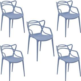 Kit 5 Cadeiras Decorativas Sala e Cozinha Feliti (PP) Azul Caribe - Gran Belo