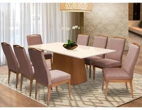 Conjunto Mesa Bianca Off White 2,08 m + 8 Cadeiras Lara Veludo Crepe