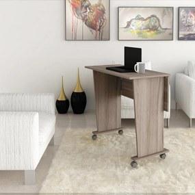 Mesa Dobrável Multiuso Rodas Notebook Home Office Carvalho
