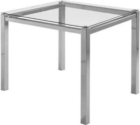 Mesa de Jantar Flex com Tampo de Vidro Quadrado Base Cromada 80 cm (LARG) - 55646 Sun House