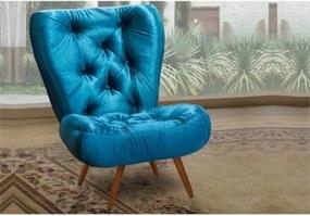 Poltrona Decorativa Nina com Pés Palitos Veludo Azul - Ibiza