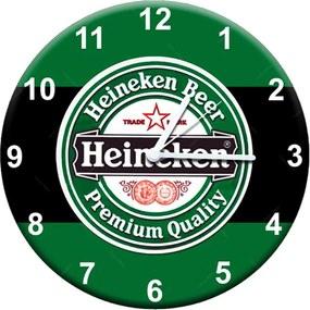 Relógio de Parede Heineken Beer Preto e Verde em MDF - 28 cm