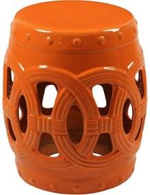 Garden Seat de Porcelana Circles Laranja