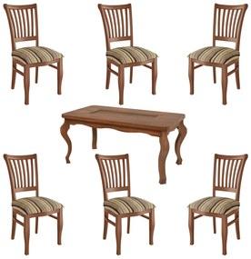 Jogo Mesa de Jantar Gaules 160cm com 06 Cadeiras Perseu MDF Imbuia - Gran Belo