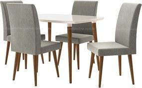 Conjunto Mesa Para Sala De Jantar Retrô 120 X 90 Com 4 Cadeiras Jade Rv Móveis - Off White/cinza