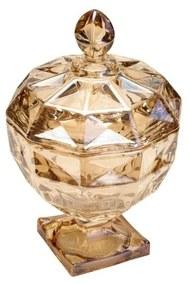 Potiche Decorativo Cristal Com Pé Diamant Âmbar 17,5x24cm 26651 Wolff
