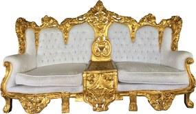 Sofá Imperial Clássico Folheado a Ouro Tecido Capitonê