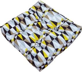 Almofada Futon Impermeável Estampa Geométrica Colorida 48x48x10