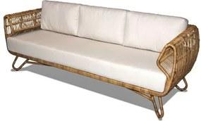 Sofa Tempe 3 Lugares Assento cor Branco com Base Aluminio Revestido em Junco - 44790 Sun House