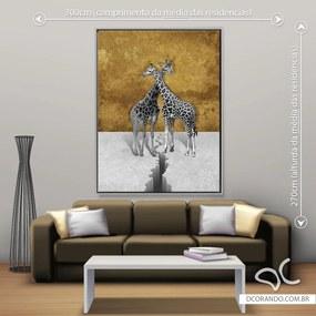 Quadro Giraffas - Gigante 185cm x 140cm, Tela + Moldura Prata