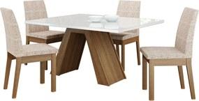 Sala de Jantar Madesa Ayla Mesa Tampo de Vidro com 4 Cadeiras