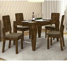Mesa De Jantar Charme 127CM Com 04 Cadeiras Dama Rust Malbec/Pena Marrom DJ Móveis
