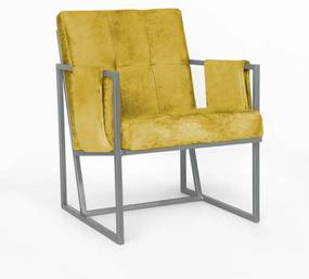 Poltrona Megan Luxo  Decorativo Base Prata Suede Amarelo