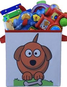 Caixa Organizadora de Brinquedos Organibox Cachorro Branca/Vermelha