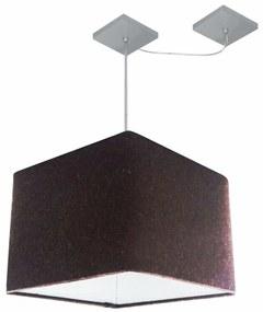 Lustre Pendente Quad C/ Desvio Md-4268 Cúpula em Tecido 30/35x35cm Café - Bivolt