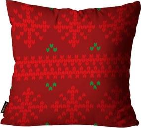 Almofada Mdecore Natal Flocos de Neve Vermelha 45x45cm