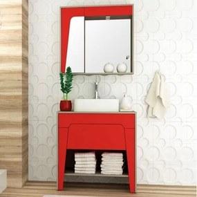 Kit Banheiro Gabinete 80cm Cuba e Armário com Espelho Elisa Taeda/Vermelho - Bosi