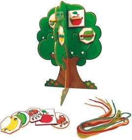 Jogo Ciabrink Alinhavos Árvore 3D Madeira Multicolorido