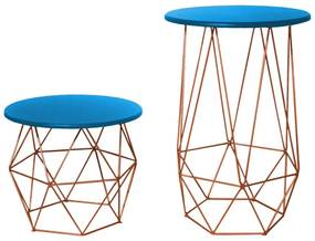 Kit Mesa Lateral + Mesa de Centro Decorativa Eiffel Tampo Azul Aramado Bronze