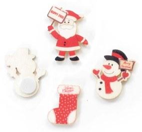 Adesivo De Madeira Com Noel Decoração Natal 3Cm Cor Branco
