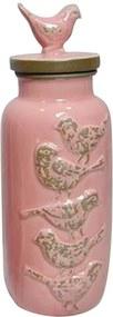 Garrafa Decorativa Le Cle Bird Rosa em Cerâmica - 30,5x11 cm