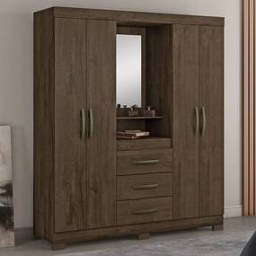 Guarda-Roupa Solteiro 4 Portas 3 Gavetas com Espelho Nt5015 Café - Notavel