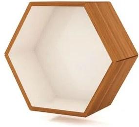 Nicho Hexagono Samantha cor Freijo com Off White Brilho 52 cm (LARG) - 56534 Sun House